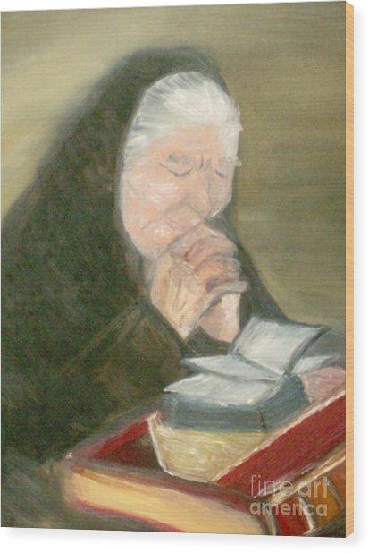 A Grandmother's Prayer Wood Print by Helena Bebirian