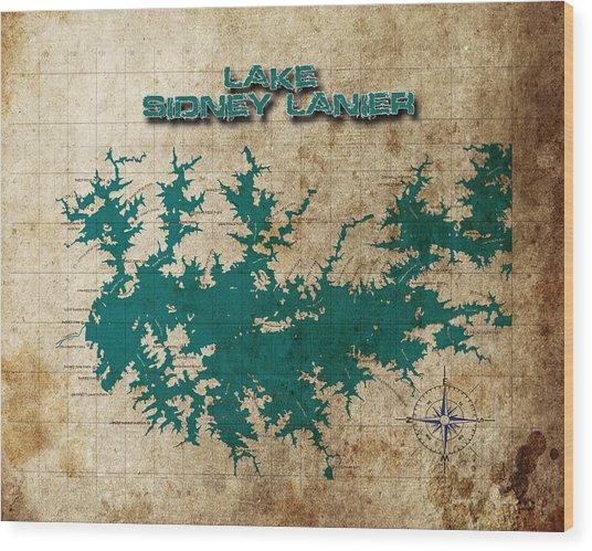 Vintage Map Print Lake Sidney Lanier Georgia Wood Print