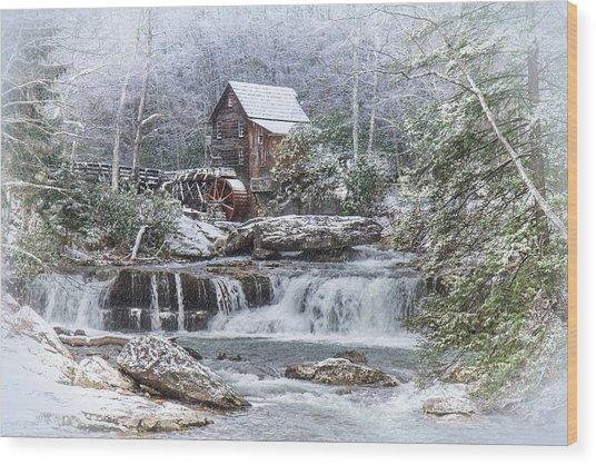 A Gristmill Christmas Wood Print