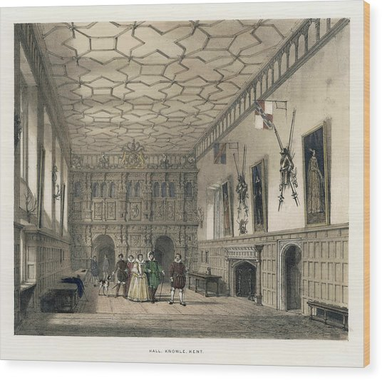 A Group Of Aristocrats In The  Hall Wood Print by Mary Evans Picture Library