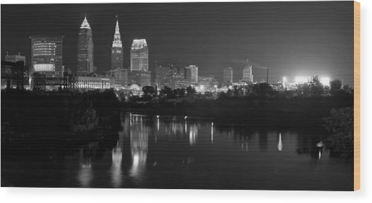 A Hazy Cleveland Night At Progressive Field Wood Print
