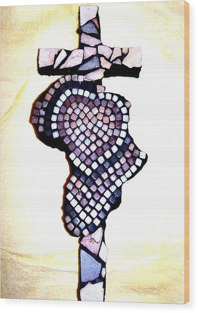 A Heart For Africa Cross Wood Print
