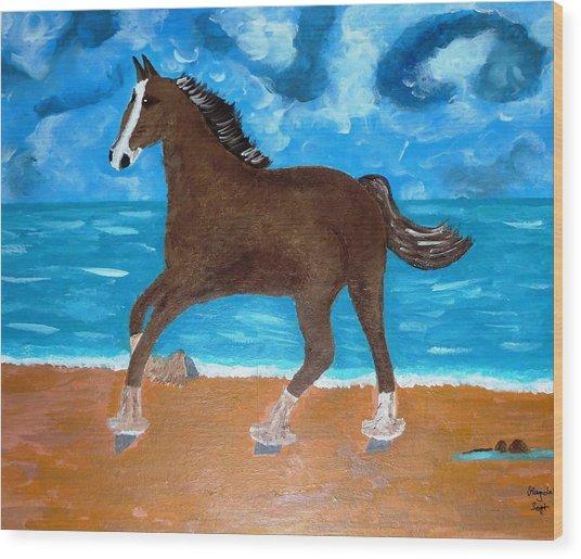 A Horse On The Beach Wood Print