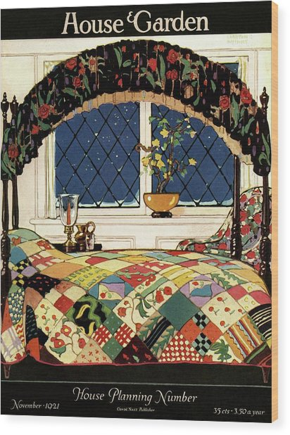 A House And Garden Cover Of A Four-poster Bed Wood Print