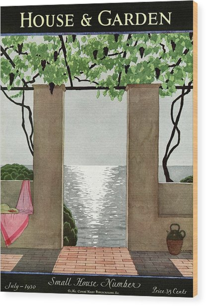 A House And Garden Cover Of A Seaside Patio Wood Print