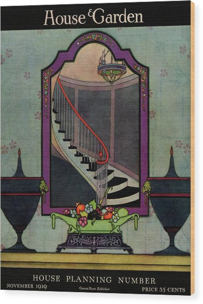 A House And Garden Cover Of A Staircase Wood Print