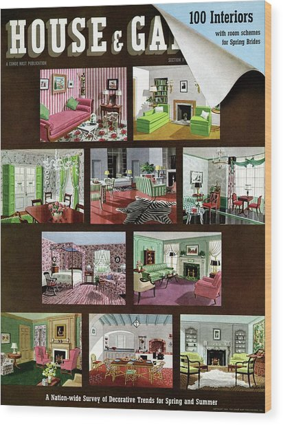A House And Garden Cover Of Interior Design Wood Print