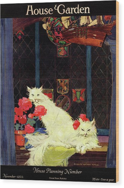 A House And Garden Cover Of White Cats Wood Print