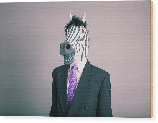 A Human Figure With A Zabra Head Wood Print by Trevor Williams