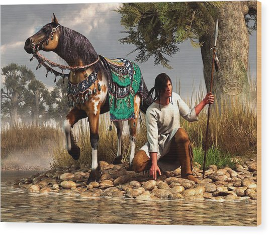 A Hunter And His Horse Wood Print