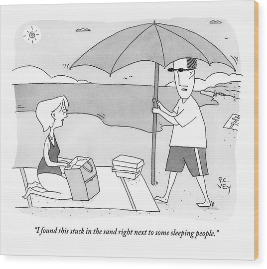 A Husband Returns To His Wife At The Beach Having Wood Print