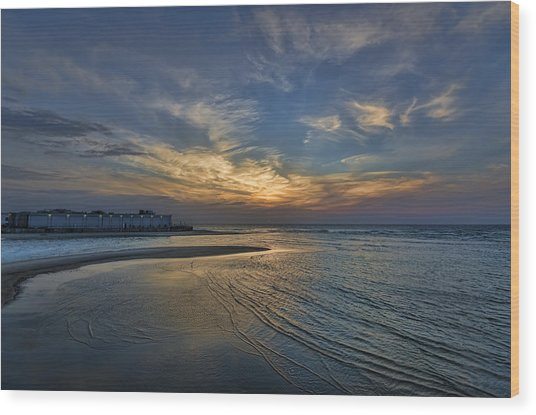 a joyful sunset at Tel Aviv port Wood Print