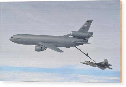 A Kc-10 Extender Refuels An F-22 Raptor Wood Print