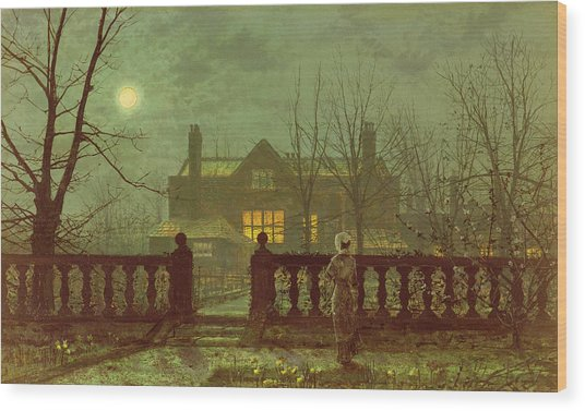 A Lady In A Garden By Moonlight Wood Print