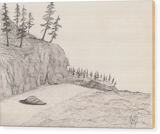 A Lakeshore... Sketch Wood Print by Robert Meszaros