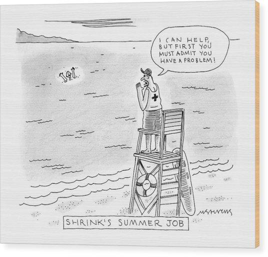 A Lifeguard Shouts At A Drowning Man Wood Print