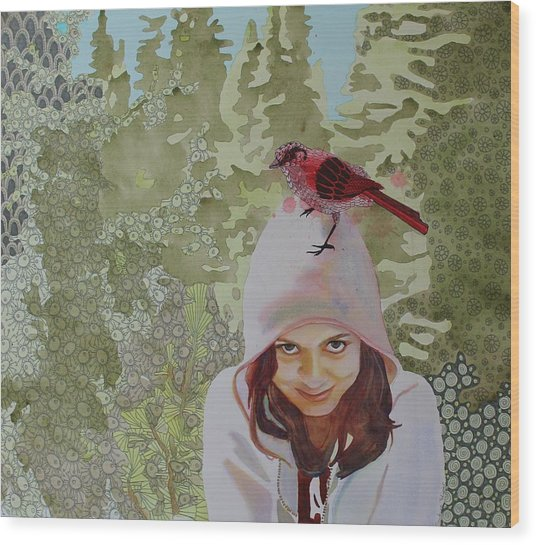 A Little Birdie Told Me Wood Print by Sandrine Pelissier