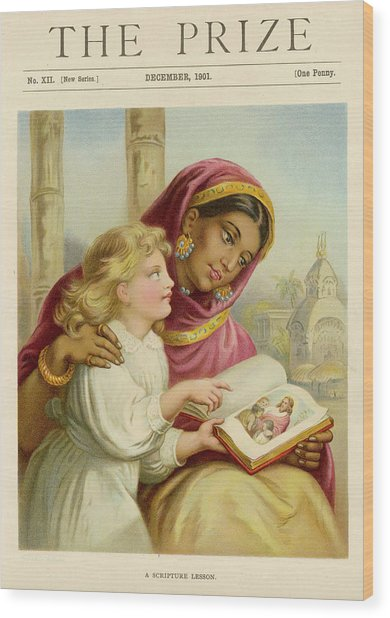A Little White Girl Teaches An  Asian Wood Print by Mary Evans Picture Library