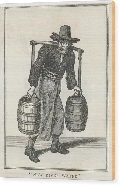 A London Water Carrier With Two Barrels Wood Print by Mary Evans Picture Library
