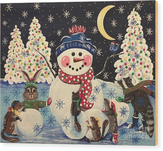 A Magical Night In The Snow Wood Print