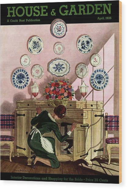 A Maid Getting China From A French Provincial Wood Print