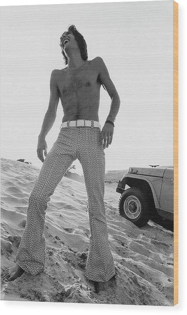 A Male Model On A Beach Wood Print