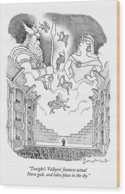 A Man Addresses A Large Theater Wood Print