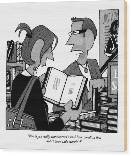 A Man And A Woman Are In A Bookstore Wood Print