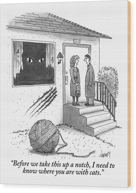 A Man And A Woman Stand On The Stoop Wood Print