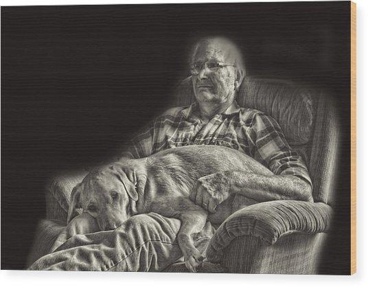 A Man And His Dog Wood Print by Linda Phelps