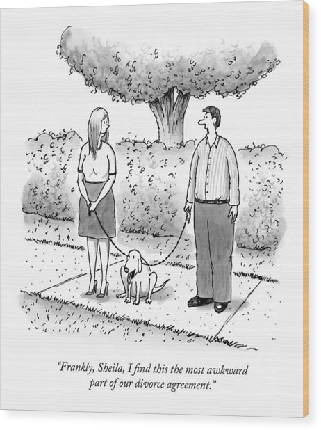 A Man And Woman Have On Leash The Same Dog Wood Print