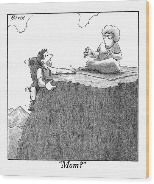 A Man Ascends A Mountain To Discover His Mother Wood Print