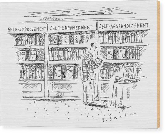 A Man At A Bookstore Stands Near Three Shelves: Wood Print