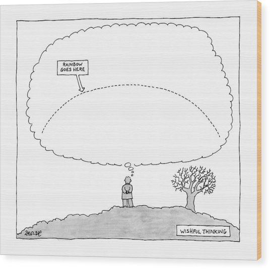 A Man Has A Thought Cloud Wood Print