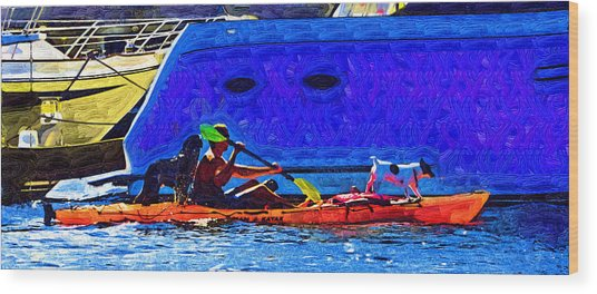 A Man His Kayak And His Dogs Wood Print