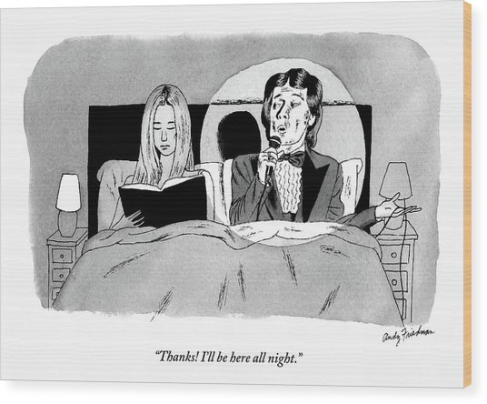 A Man In A Performer's Tuxedo Lies In Bed Next Wood Print