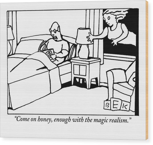 A Man In Bed Speaks To His Wife Who Is Floating Wood Print