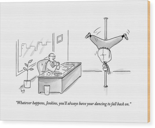 A Man Is Seen Pole Dancing In A Corporate Office Wood Print