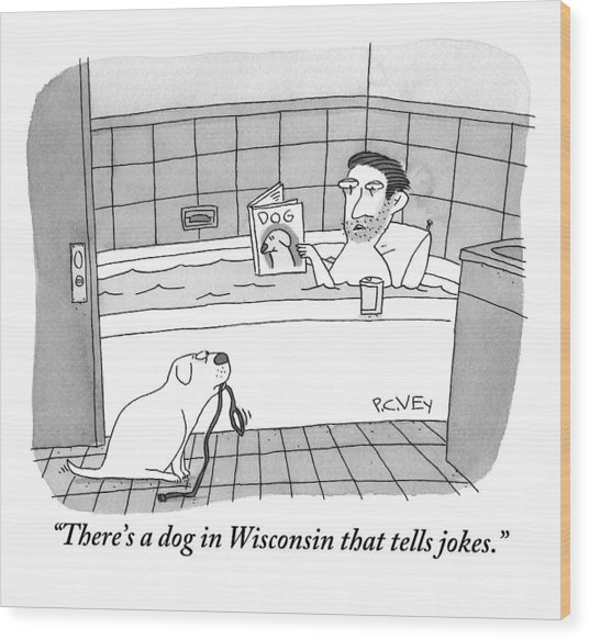 A Man Is Taking A Bath While Reading A Dog Wood Print