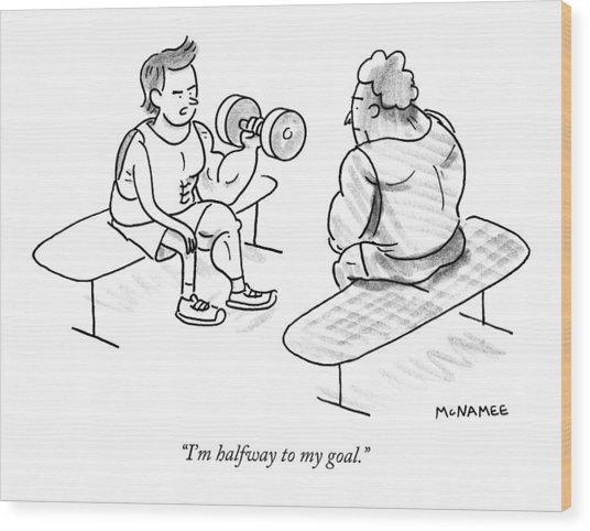 A Man Lifting Weights Wood Print