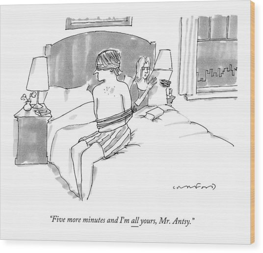 A Man Sits Tied Up In His Underwear On The Bed Wood Print