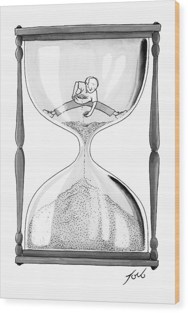 A Man Stands In The Top Half Of An Hourglass Wood Print