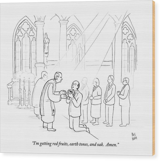 A Man To Priest As He Drinks The Wine Wood Print