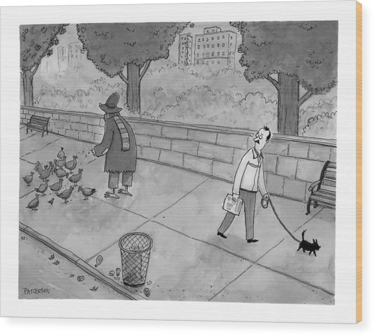 A Man Walking His Dog Sees A Mysterious Figure Wood Print