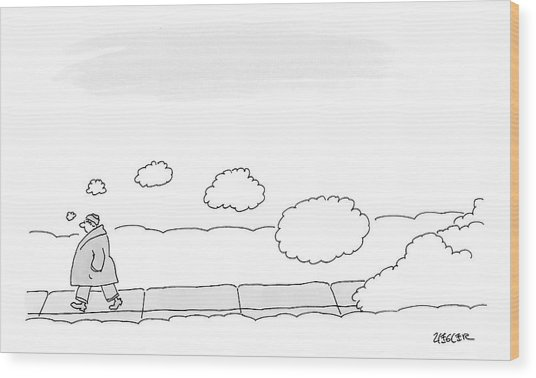 A Man Walks On The Sidewalk Trailing Thought Wood Print
