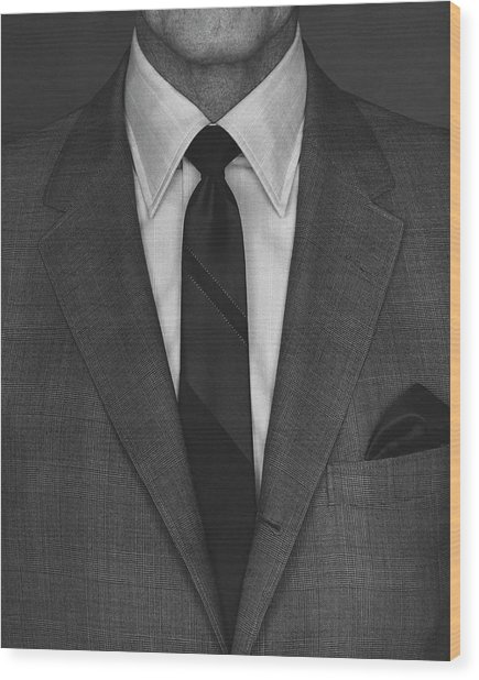 A Man Wearing A Suit Wood Print by Peter Scolamiero