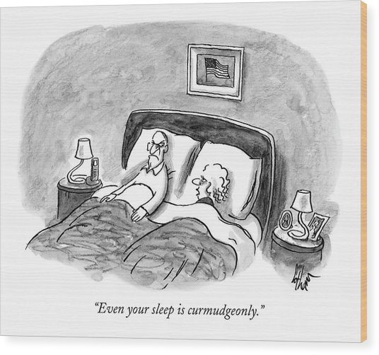 A Married Couple Talks In Bed Wood Print
