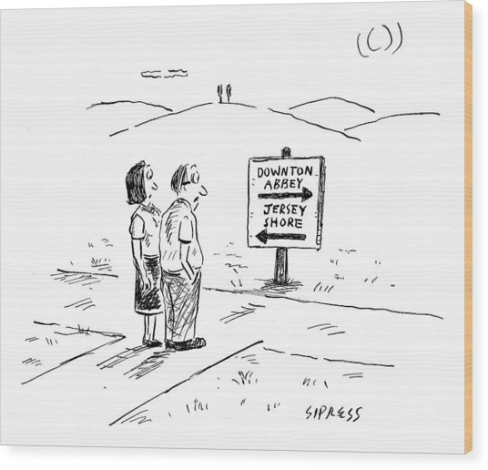 A Middle-aged Couple Stand At A Road Sign Wood Print