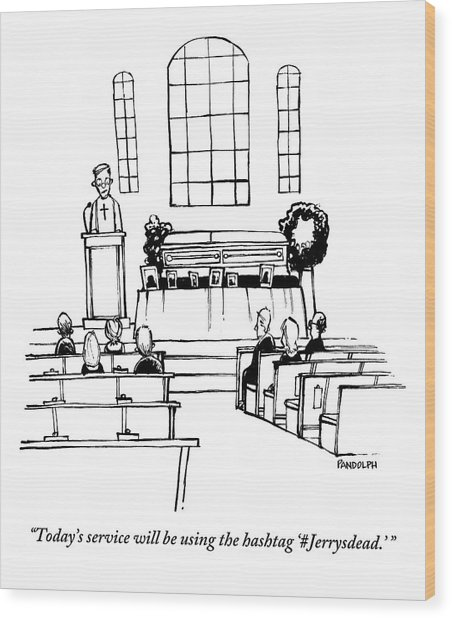 A Minister Speaks At A Funeral Service Wood Print