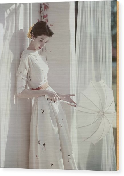 A Model Holding A Parasol Wood Print
